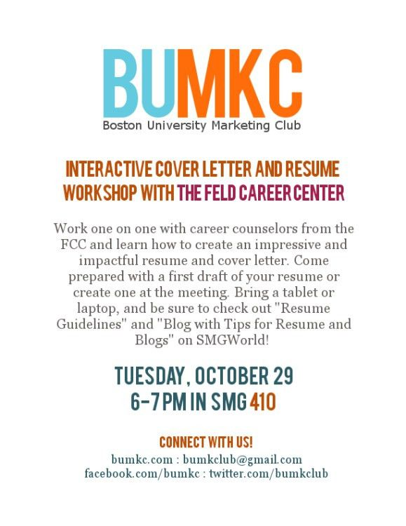 Interactive Cover Letter and Resume workshop with the Feld Career ...
