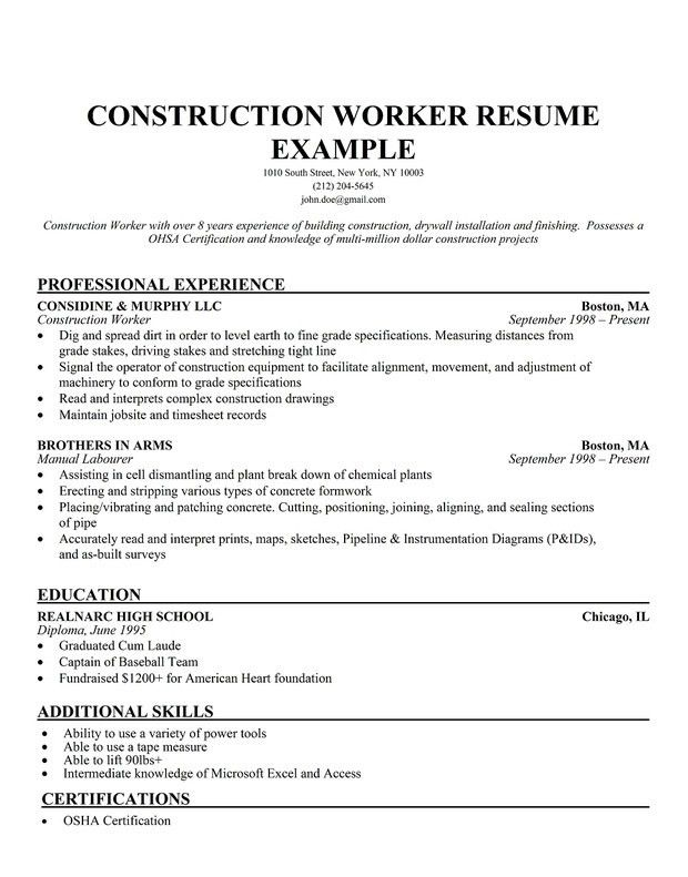 Professional Construction Worker Resume Sample | RecentResumes.com