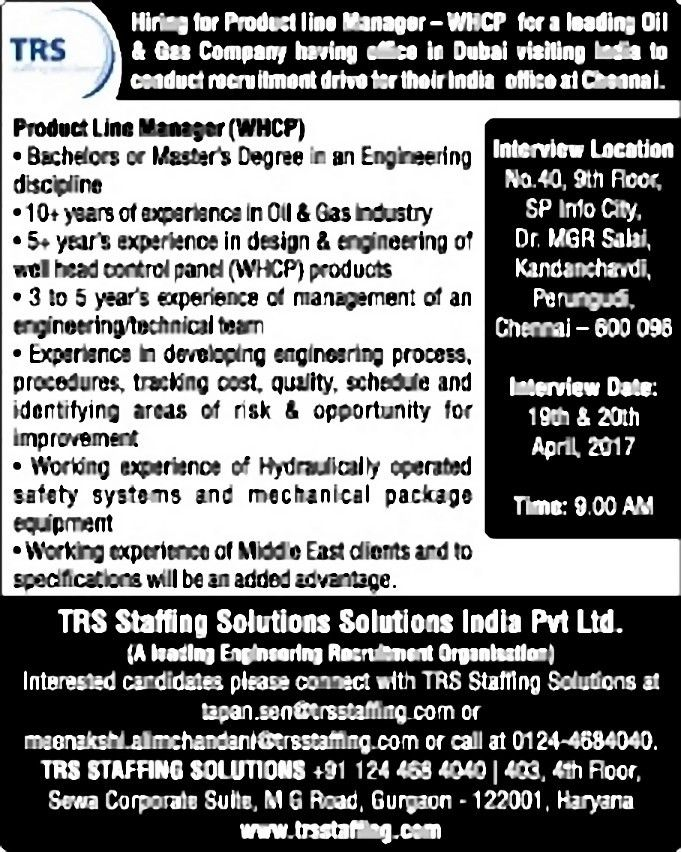 Job - Product Line Manager - India - Production and Manufacturing ...