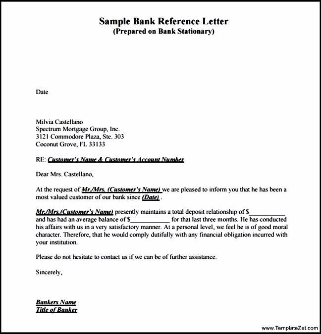 Best Format For Bank Reference Letter | TemplateZet