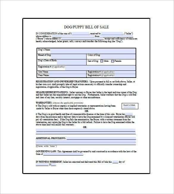 Dog Bill of Sale – 8+ Free Sample, Example, Format Download ...