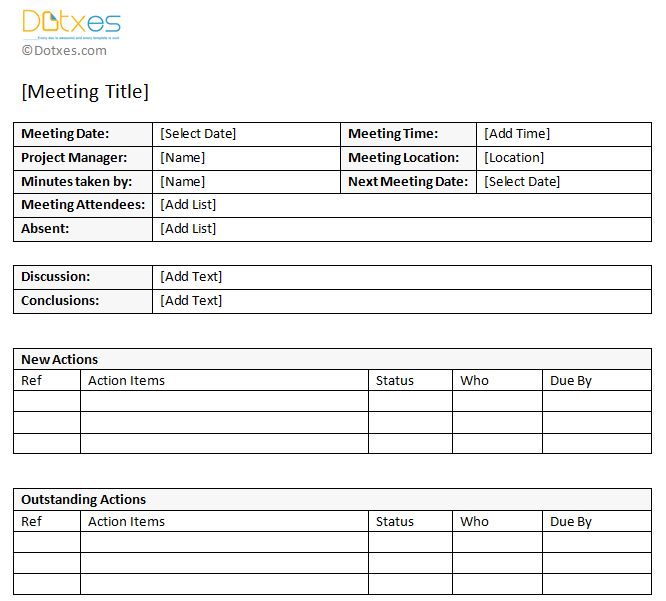 meeting action items template