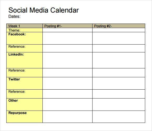 Social Media Calendar - 8+ Samples, Examples, Format