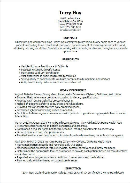 Home Health Aide Resume Sample | Experience Resumes