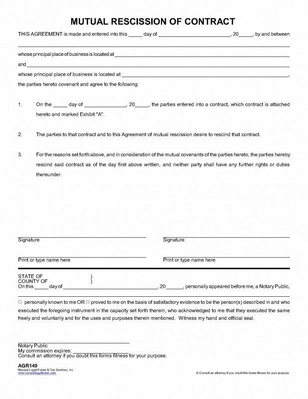 MUTUAL RESCISSION OF CONTRACT - Nevada Legal Forms & Tax Services Inc.