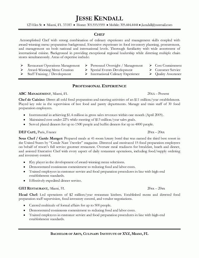 Good Chef Resume Examples Resume is needed by almost job title ...