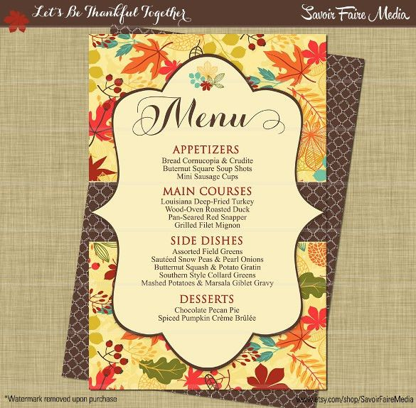 Thanksgiving Menu Template - 27+ Free PSD, EPS Format Download ...