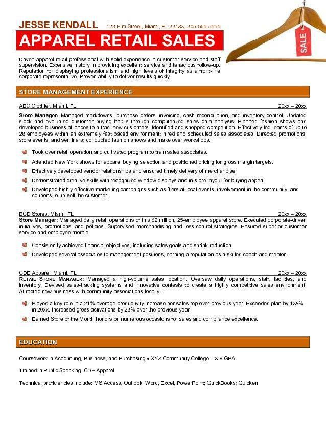 Sample Retail Manager Resume | Sample Resumes