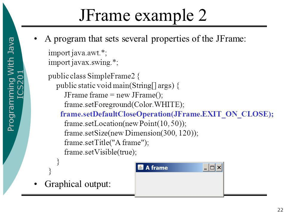 Programming With Java ICS201 University Of Ha'il1 Chapter 17 ...