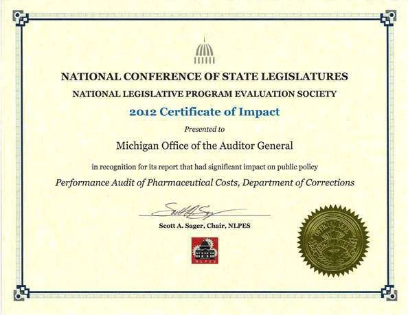 Awards and Recognition - Michigan Office of the Auditor General