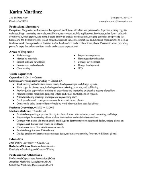 Sample ad copywriter resume