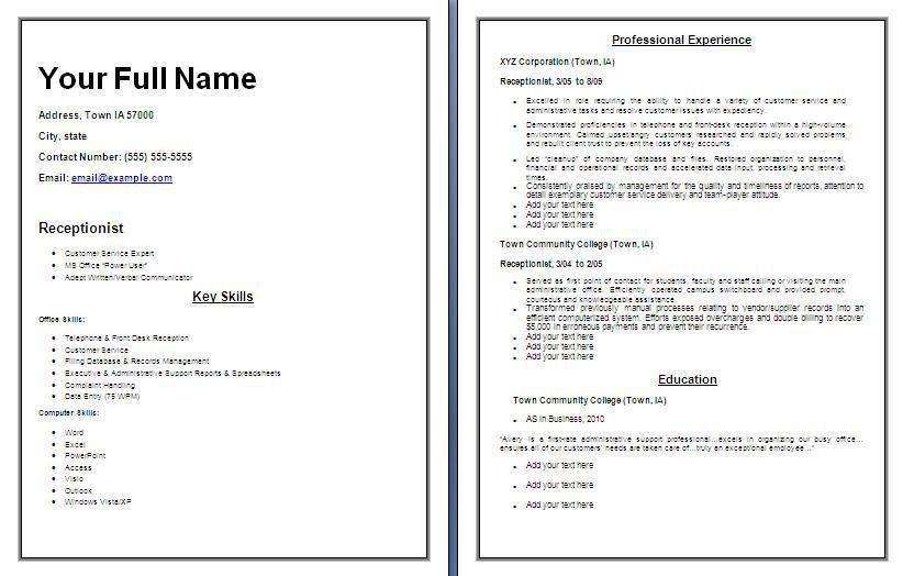 Amazing Chic Receptionist Resume Templates 10 Receptionist ...