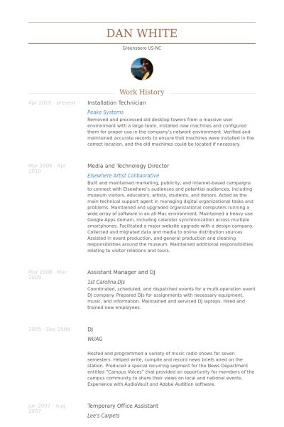 Installation Technician Resume samples - VisualCV resume samples ...