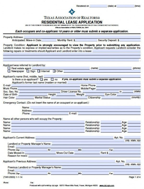 Free Texas Rental Application | PDF | Word (.doc)