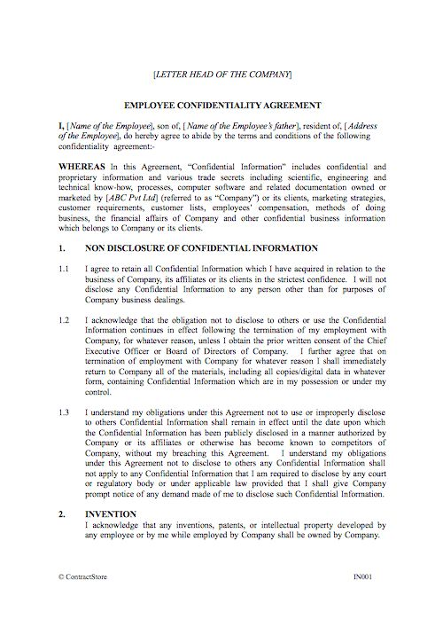 Employee Confidentiality Agreement (Indian)