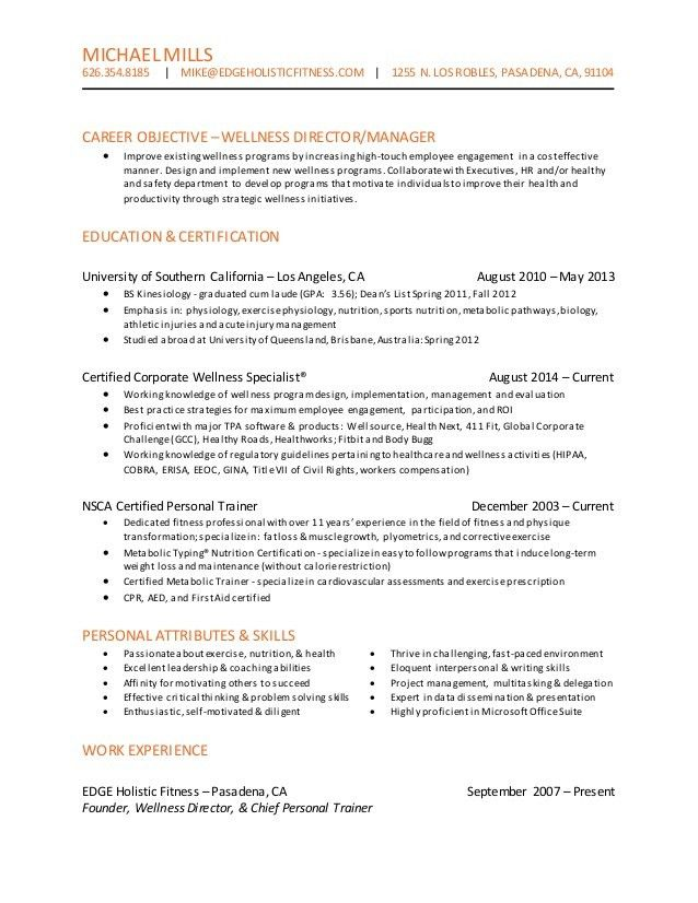 Wellness Director Resume - B7