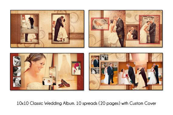 PSD Wedding Album Template - AUTUMN SWIRL - 12x12 10spread (20 ...