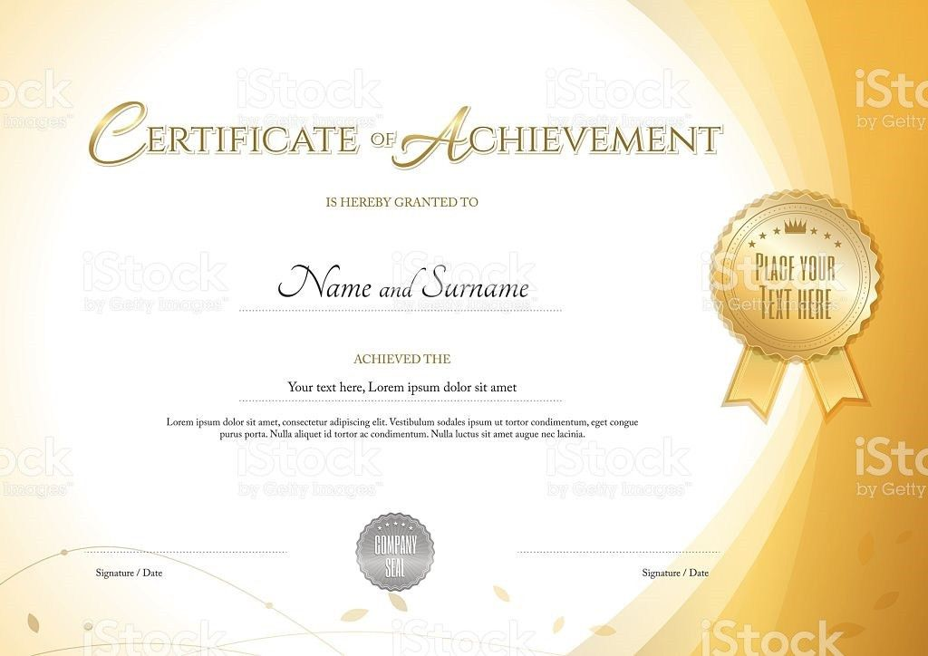 Certificate Of Achievement Template With Environment Theme Gold ...