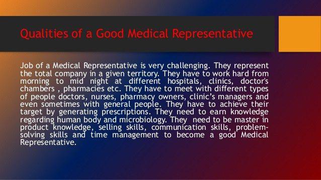 Qualities of a good Medical Representative
