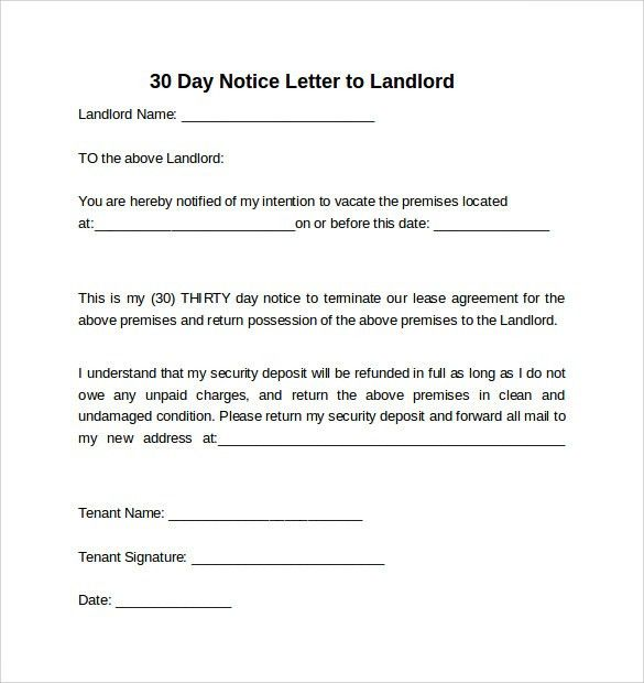 30 Days Notice Letter To Landlord   7+ Download Free Documents In Word