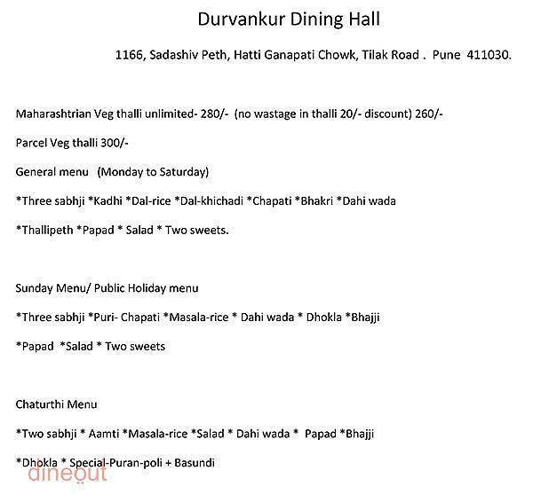 Menu of Durvankur, Sadashiv Peth, Pune | Dineout discovery