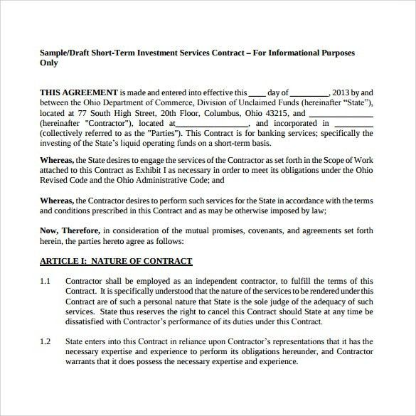 Investors contract agreement 9 investment contract templates free investment contract template 7 free sample example formats pronofoot35fo Gallery