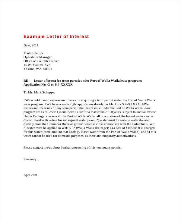 Letter of Interest - 9+ Free Sample, Example, Format | Free ...