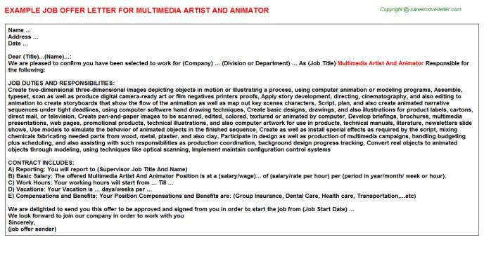Multimedia Artist And Animator Offer Letter