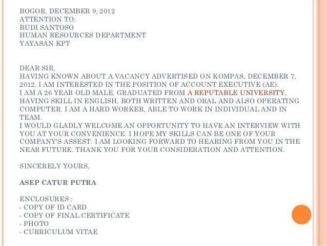 Cover letter job embassy