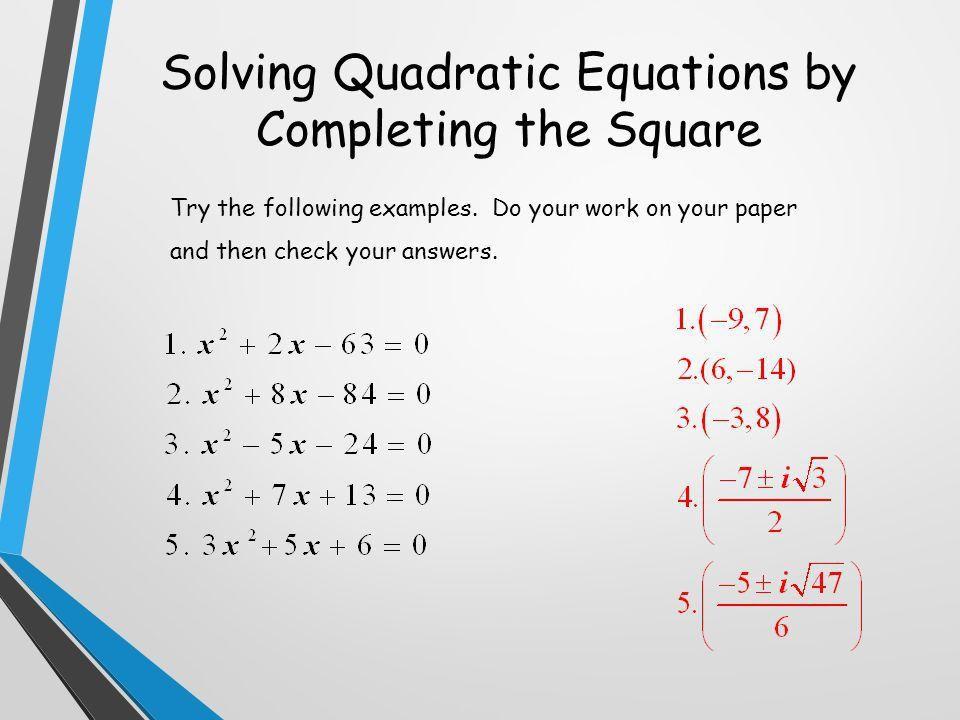 Quadratic Formula . - ppt video online download