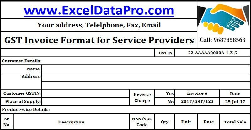 Download GST Invoice Format for Service Providers in Excel ...