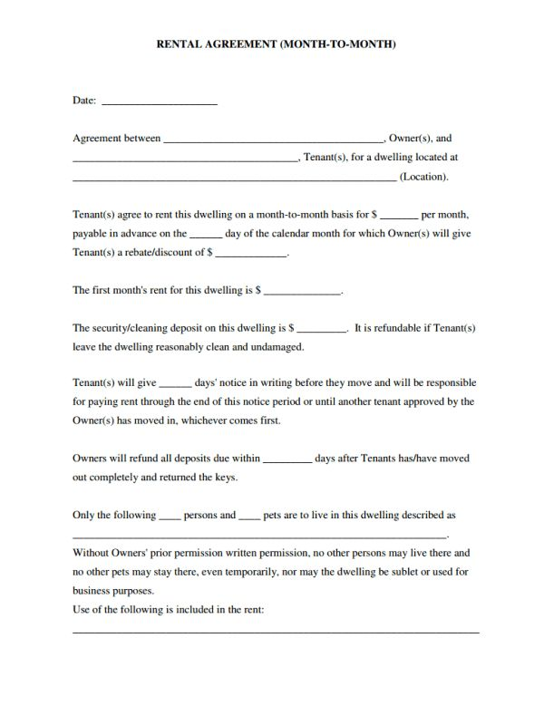 Simple Rental Agreement Month to Month Template as Useful ...
