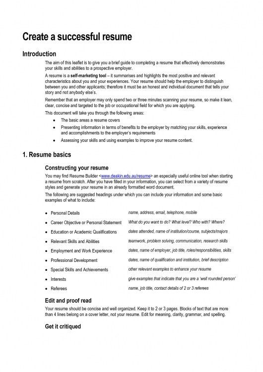 Resume Template Example * Resume Template Format