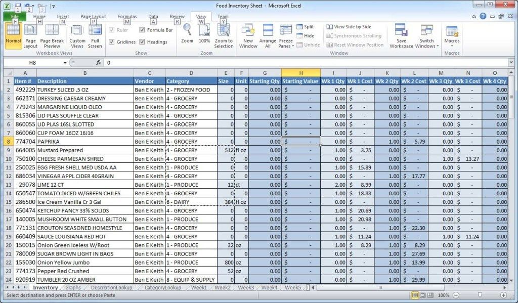 Food Inventory Template. Restaurant Inventory Spreadsheet ...