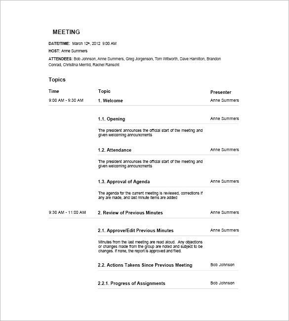 18+ Meeting Agenda Templates - Free Sample, Example, Format | Free ...