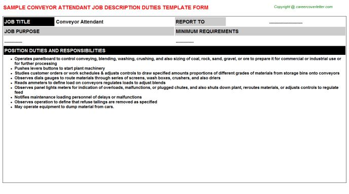 Conveyor Attendant Job Description