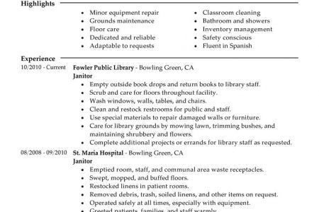 School Custodian Resume Sample - Reentrycorps