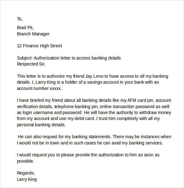 Bank Authorization Letter. 5+ Authority Letter Template | Sales ...