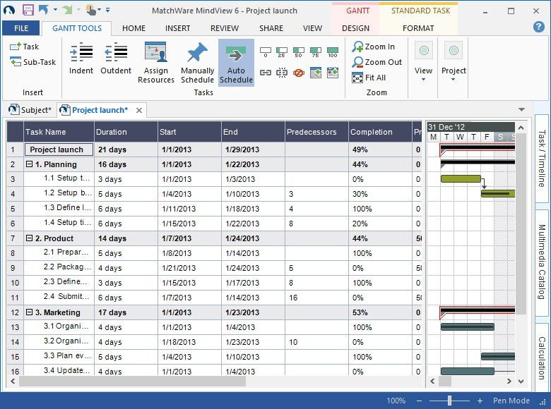 Gantt Chart Template | MindView Gantt Chart Software