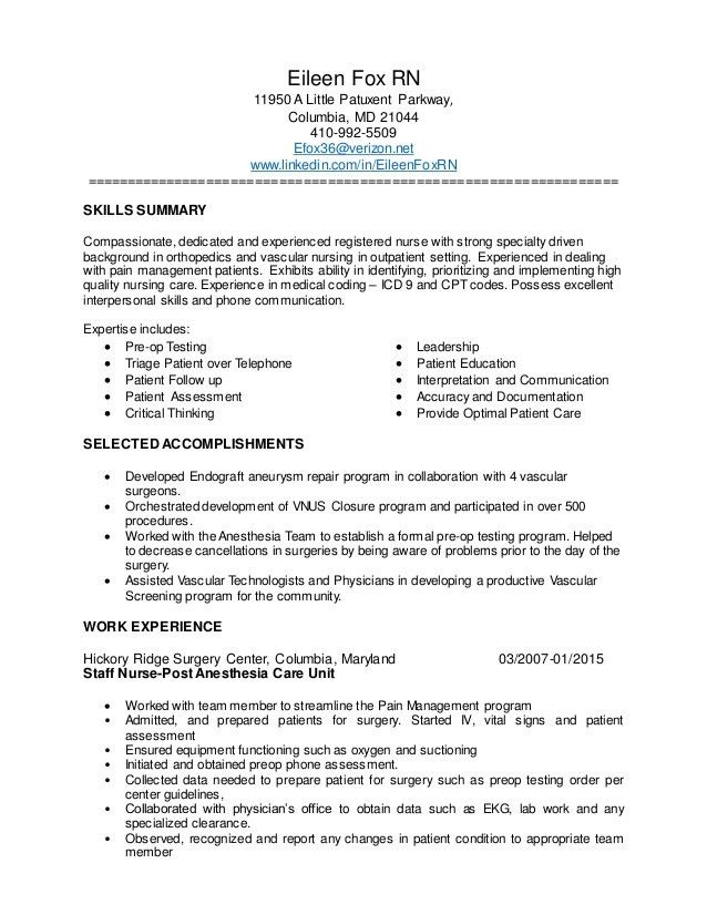 Eileen Fox Nurse Resume