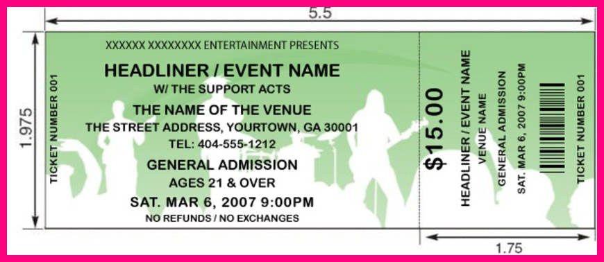 12 concert ticket template word