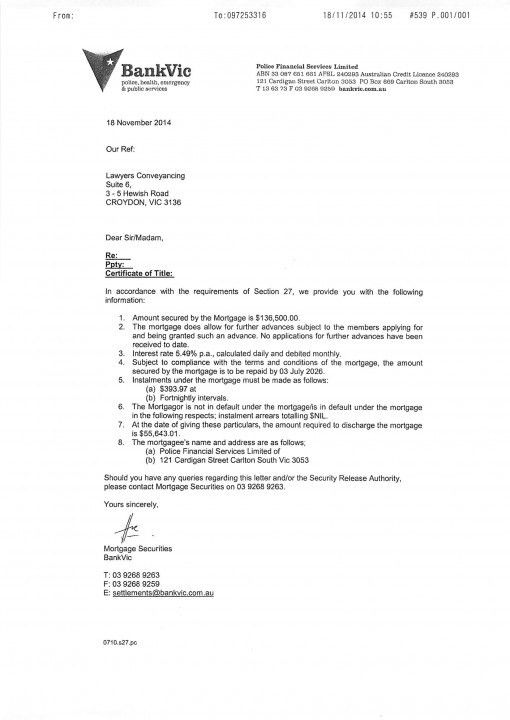 Section 27 - Bank Confirmation Letter