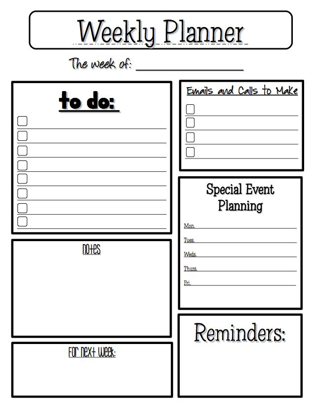"FREE MISC. LESSON - ""Weekly Planner"" - Go to The Best of Teacher ..."