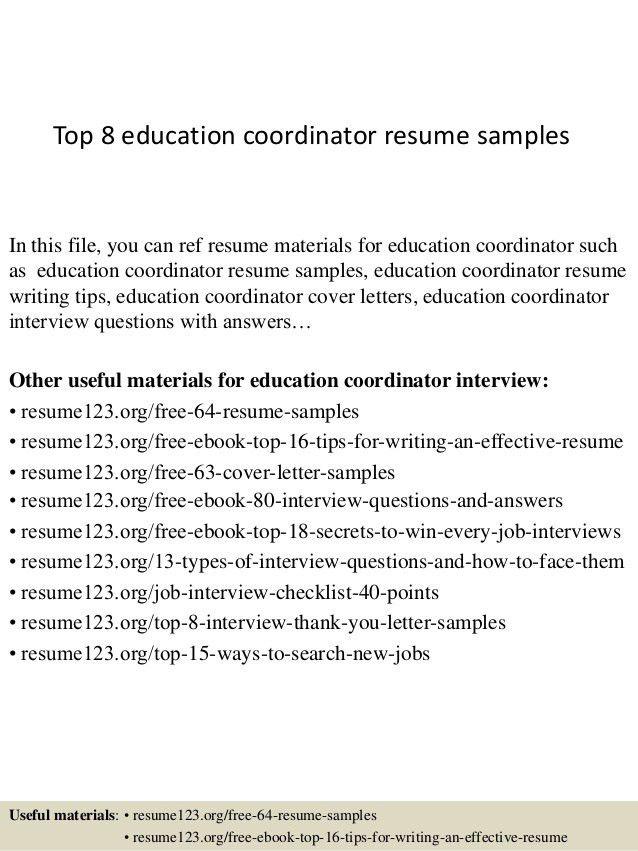 Resume sample for education