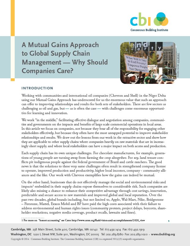A Mutual Gains Approach to Global Supply Chain Management - Why ...