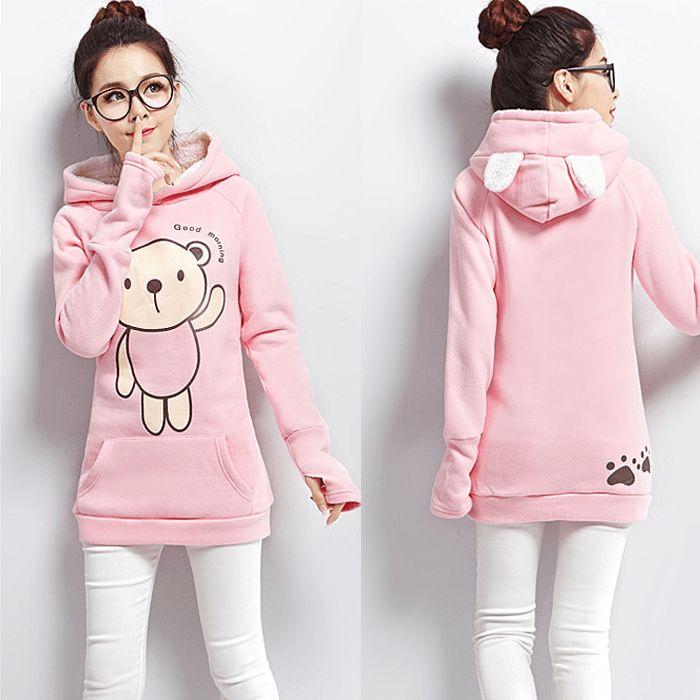 Cute cartoon students hooded fleece pullover Cute Kawaii Harajuku ...