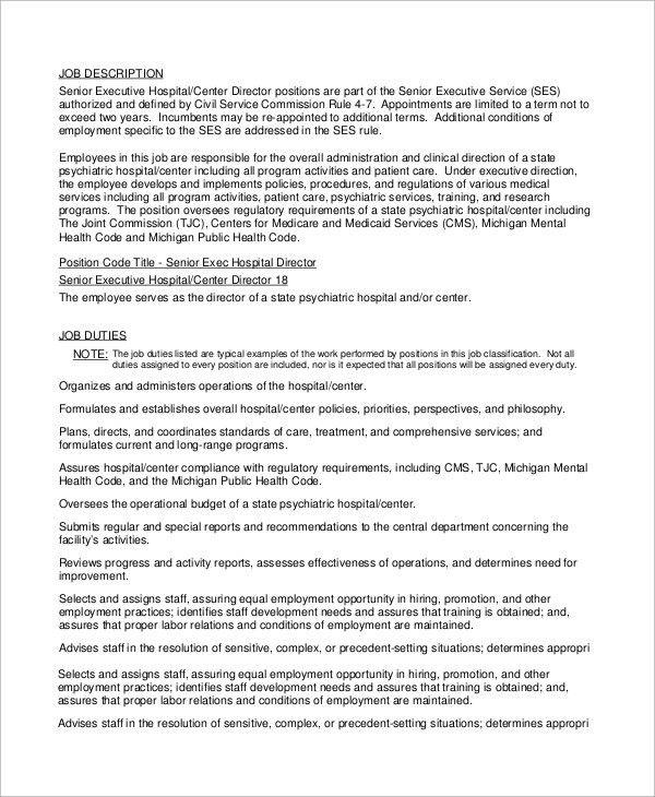 Sample Executive Director Job Description - 10+ Examples in Word, PDF