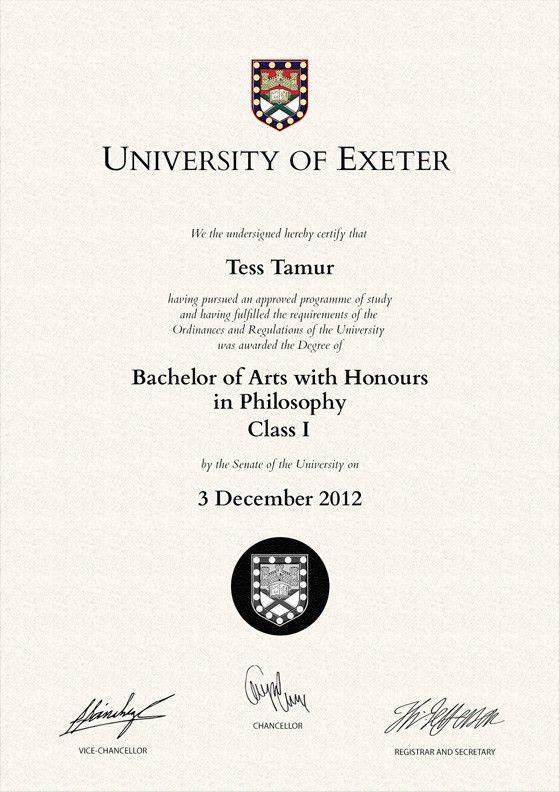 Frame for degrees from University of Exeter   University Degree ...
