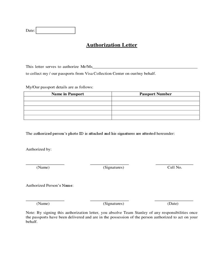 Passport Collection Authorization Letter Sample Free Download