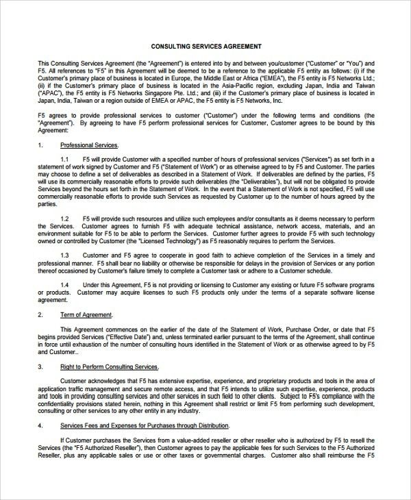 Sample Business Consulting Agreement Template - 7+ Free Documents ...